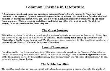 http://www3.delta.edu/drsnyder/CommonThemesInLiterature.html