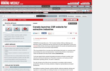 http://www.miningweekly.com/article/canada-launches-csr-website-for-extractive-industries-2010-01-19