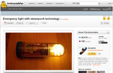 http://www.instructables.com/id/Emergency-light-with-steampunk-technology/