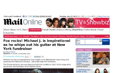 http://www.dailymail.co.uk/tvshowbiz/article-2060918/Michael-J-Fox-whips-guitar-Parkinsons-Disease-fundraiser-New-York.html