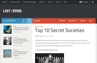 http://listverse.com/2007/08/27/top-10-secret-societies/