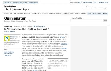 http://opinionator.blogs.nytimes.com/2011/11/13/is-neuroscience-the-death-of-free-will/