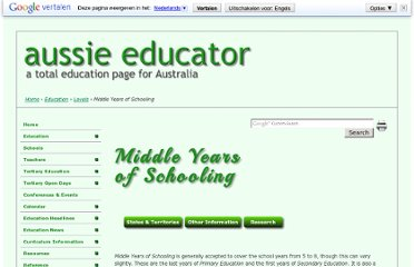 http://www.aussieeducator.org.au/education/levels/middleyears.html