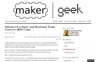 http://makergeek.co.uk/2010/05/18/advanced-eclipse-and-rational-team-concert-rtc-tips/