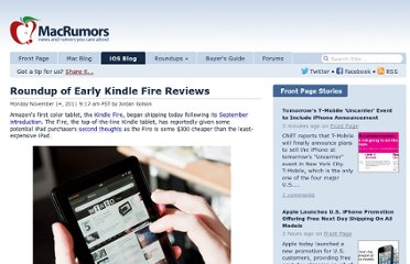 http://www.macrumors.com/2011/11/14/roundup-of-early-kindle-fire-reviews/