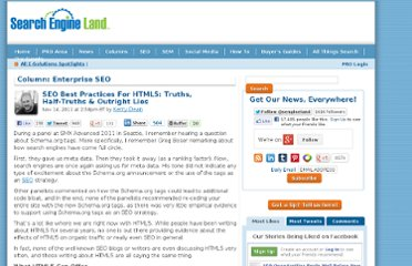 http://searchengineland.com/seo-best-practices-for-html5-truths-half-truths-outright-lies-99406