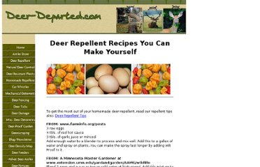 http://www.deer-departed.com/deer-repellent-recipes.html