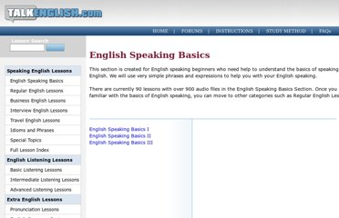 http://www.talkenglish.com/Speaking/listbasics.aspx