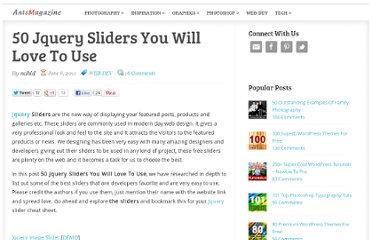 http://www.antsmagazine.com/web-development/50-jquery-sliders-you-will-love-to-use/
