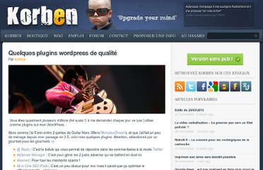http://korben.info/quelques-plugins-wordpress-de-qualite.html