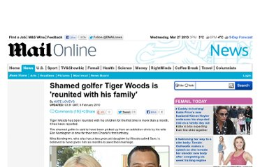 http://www.dailymail.co.uk/news/article-1249270/Shamed-golfer-Tiger-Woods-reunited-family.html