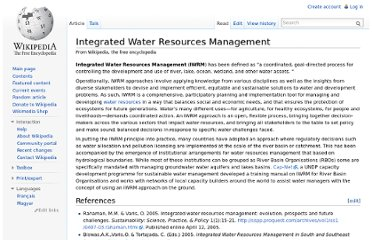 http://en.wikipedia.org/wiki/Integrated_Water_Resources_Management