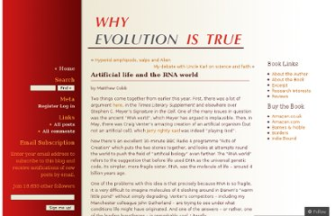 http://whyevolutionistrue.wordpress.com/2010/08/05/artificial-life-and-the-rna-world/