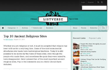 http://listverse.com/2011/08/25/top-10-ancient-religious-sites/