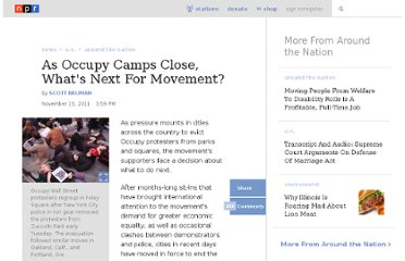http://www.npr.org/2011/11/15/142359267/as-occupy-camps-close-whats-next-for-movement