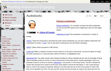 http://reading-active-and-engaging.wikispaces.com/Audiobooks