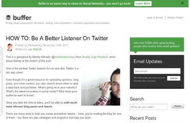 http://blog.bufferapp.com/how-to-be-a-better-listener-on-twitter