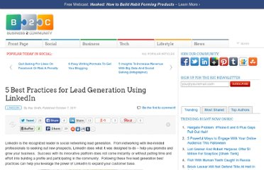 http://www.business2community.com/linkedin/5-best-practices-for-lead-generation-using-linkedin-067014