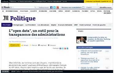 http://www.lemonde.fr/politique/article/2011/11/17/l-open-data-un-outil-pour-la-transparence-des-administrations_1604390_823448.html