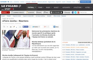 http://www.lefigaro.fr/football-mondial-2010/2010/06/19/02022-20100619ARTSPO00439-affaire-anelka-reactions.php