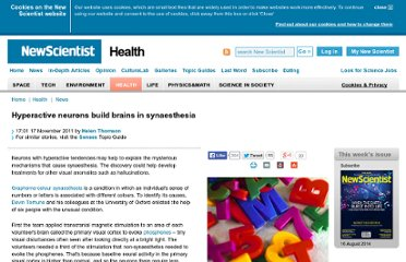 http://www.newscientist.com/article/dn21183-hyperactive-neurons-build-brains-in-synaesthesia.html