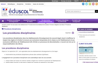 http://eduscol.education.fr/cid48593/reforme-des-procedures-disciplinaires.html