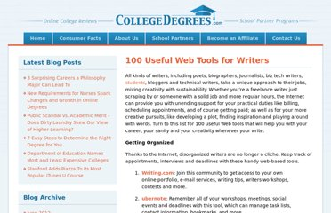 http://www.collegedegrees.com/blog/2008/06/11/100-useful-web-tools-for-writers/