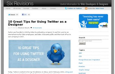 http://sixrevisions.com/web-applications/10-great-tips-for-using-twitter-as-a-designer/