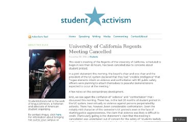 http://studentactivism.net/2011/11/14/university-of-california-regents-meeting-cancelled/