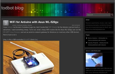 http://todbot.com/blog/2010/12/16/wifi-for-arduino-with-asus-wl-520gu/#more-909
