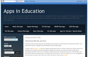 http://appsineducation.blogspot.com/2011/11/100-essential-ipad-tips-and-tricks.html