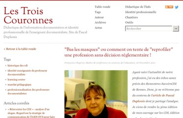 http://lestroiscouronnes.esmeree.fr/table-ronde/bas-les-masques-ou-comment-on-tente-de-reprofiler-une-profession-sans-decision-reglementaire