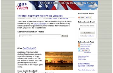 http://www.dotgovwatch.com/index.php?/archives/8-The-Best-Copyright-Free-Photo-Libraries.html