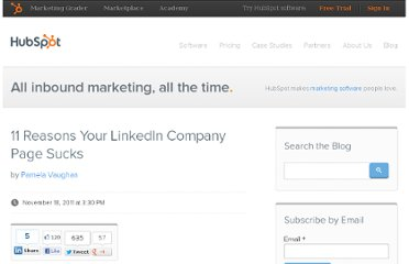 http://blog.hubspot.com/blog/tabid/6307/bid/28976/11-Reasons-Your-LinkedIn-Company-Page-Sucks.aspx