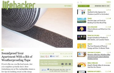 http://lifehacker.com/5860970/soundproof-your-apartment-with-a-bit-of-weatherproofing-tape