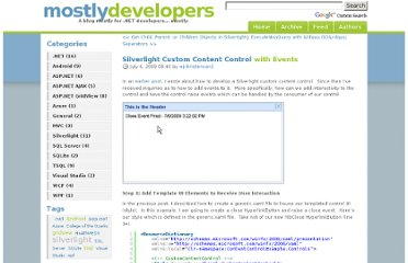 http://www.mostlydevelopers.com/blog/post/2009/07/06/Silverlight-Custom-Content-Control-with-Events.aspx