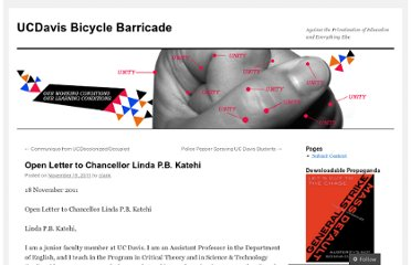 http://bicyclebarricade.wordpress.com/2011/11/19/open-letter-to-chancellor-linda-p-b-katehi/