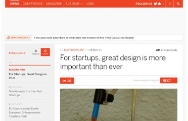 http://thenextweb.com/entrepreneur/2011/11/19/for-startups-great-design-is-more-important-than-ever/