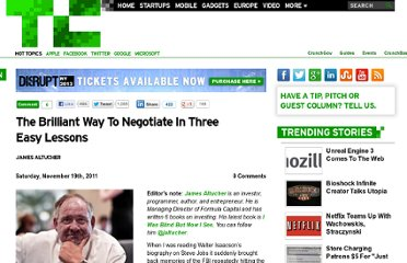 http://techcrunch.com/2011/11/19/how-to-negotiate-in-three-easy-lessons/