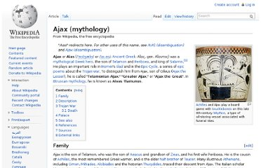http://en.wikipedia.org/wiki/Ajax_(mythology)