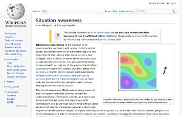 http://en.wikipedia.org/wiki/Situation_awareness