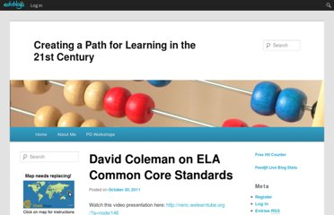 http://bloggingonthebay.edublogs.org/2011/10/30/david-coleman-on-ela-common-core-standards/