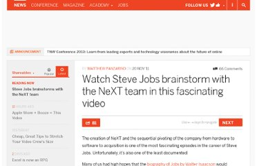 http://thenextweb.com/shareables/2011/11/20/watch-steve-jobs-brainstorm-with-the-next-team-in-this-fascinating-video/
