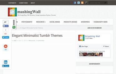 http://smashingwall.com/resources/25-elegant-minimalist-tumblr-themes/