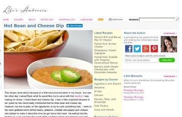 http://www.lifesambrosia.com/2009/06/hot-bean-and-cheese-dip-recipe.html