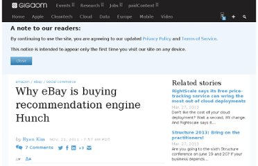 http://gigaom.com/2011/11/21/why-ebay-is-buying-recommendation-engine-hunch/