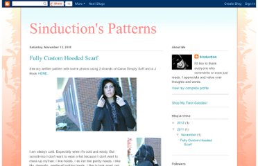 http://sinductioncrochet.blogspot.com/2011/11/fully-custom-hooded-scarf.html