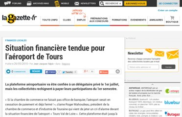http://www.lagazettedescommunes.com/39176/situation-financiere-tendue-pour-l%e2%80%99aeroport-de-tours/