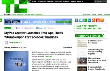 http://techcrunch.com/2011/11/22/mypad-creator-launches-ipad-app-thats-stumbleupon-for-facebook-timelines/