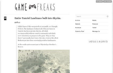 http://blog.gamefreaks.co.nz/post/13163409874/entire-tamriel-landmass-built-into-skyrim